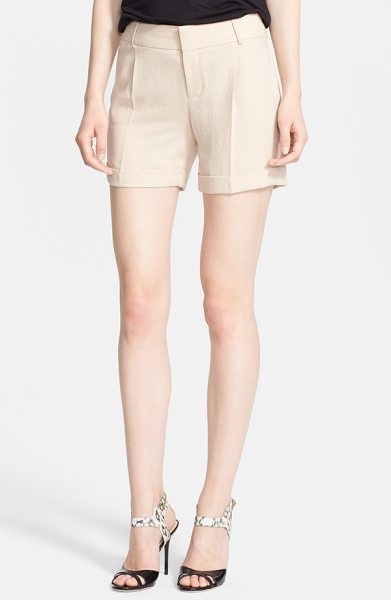 Haute Hippie cuff shorts in buff - Decisive front pleats and rolled hems give crinkled...