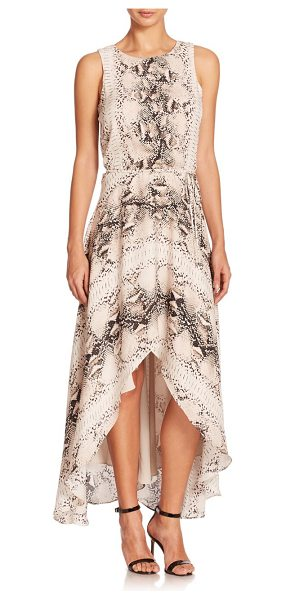 Haute Hippie Cutout-back python-print silk hi-lo dress in buffmulti - A bold python complements the dreamy flounce and flow of...