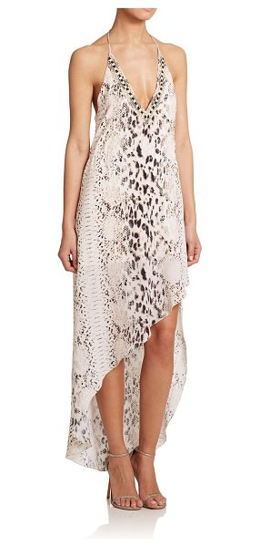 HAUTE HIPPIE Embellished asymmetrical silk dress - Crafted in sumptuous silk, an asymmetrical halter...