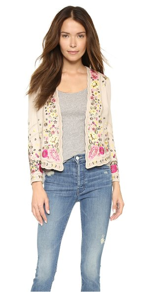 Haute Hippie Embellished floral jacket in buff/multi