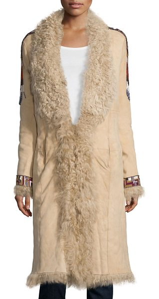 Haute Hippie Embellished Fur Coat in buff - Haute Hippie suede coat with dyed lamb shearling (China)...