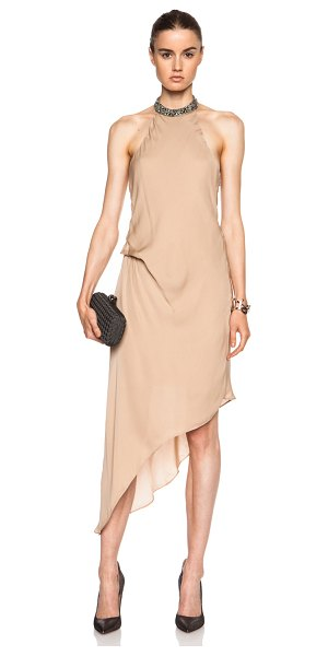 Haute Hippie Embellished high neck asymmetric silk dress in neutrals - Self: 100% silk - Lining: 100% poly.  Made in China. ...
