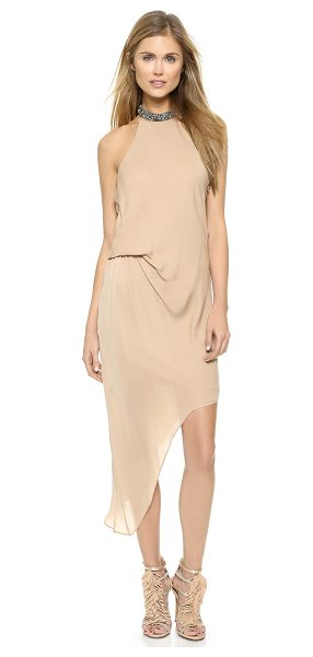 Haute Hippie Embellished neck dress in matte gold/black - A jewelry inspired collar accented with smoky...