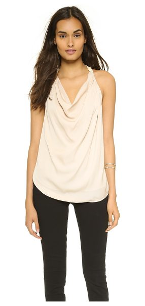 Haute Hippie Embellished strap cowl tank in buff - Beaded straps add an elegant touch to this airy silk...