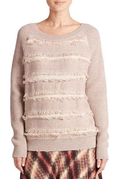 Haute Hippie Fringe cotton sweater in desertsand - Fringe panels lend playful texture to this classic...