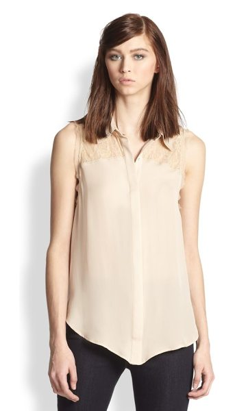 Haute Hippie Lace yoke silk blouse in buff - A sheer lace yoke and raw-edge trim lend intrigue to...