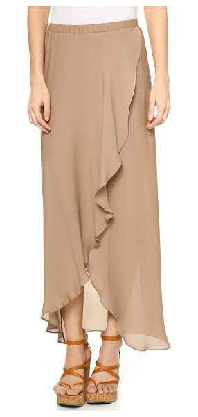 Haute Hippie Maxi skirt with shorts in suntan - Draped panels lend an effortless drape to this airy...