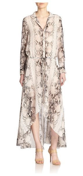 Haute Hippie Python-print silk hi-lo shirtdress in buff-multi - Haute Hippie reinvents the classic shirtdress with this...