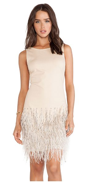 HAUTE HIPPIE Sleeveless embellished dress with ostrich feathers - 67% cotton 28% nylon 5% spandex. Dry clean only....
