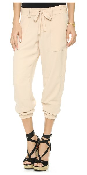Haute Hippie Tie waist pants in buff - These slouchy Haute Hippie pants blend utilitarian style...