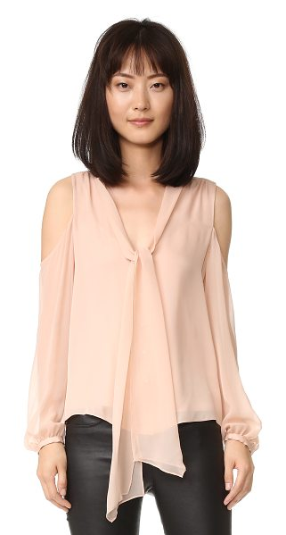 Haute Hippie vida cold shoulder top in pale pink - A delicate Haute Hippie blouse with loose ties at the...