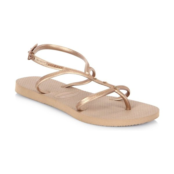 HAVAIANAS allure maxi sandals in rose gold - Patterned cushioned footbed updates these sandals. PVC...
