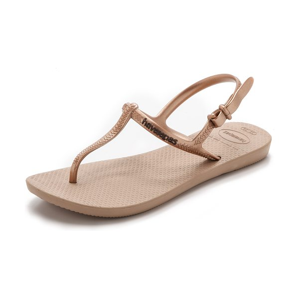 Havaianas Freedom t-strap sandals in rose gold - A metallic rubber T strap and buckled ankle give these...