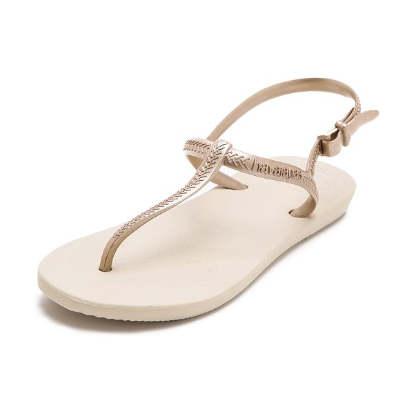 Havaianas Freedom t strap sandals in sand grey/light golden