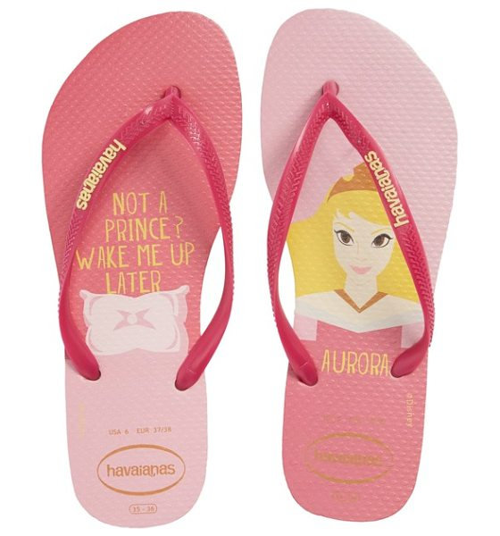 Havaianas havaiana slim in beige/ pink - Your favorite Disney princess patterns the footbed of a...