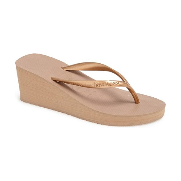 Havaianas high fashion flip flop in rose gold - A bold wedge heel adds chic style to a classic,...