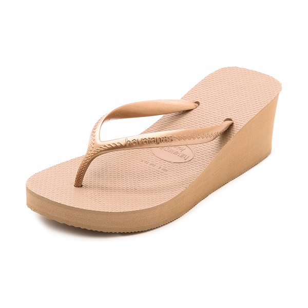 Havaianas High fashion wedge flip flops in rose gold - Classic Havaianas flip flops gain flattering height with...