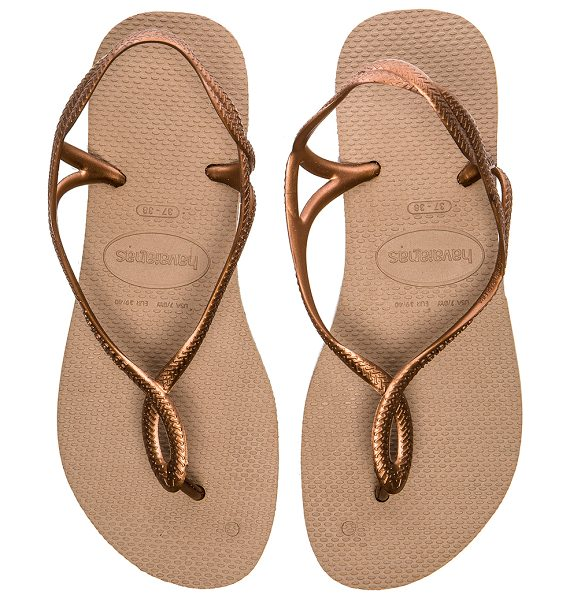 Havaianas Luna flip flop in metallic bronze - Rubber upper and sole. Metallic straps. HAVA-WZ148....