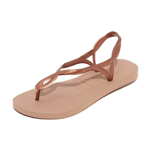 Havaianas luna sandals in rose gold/rose gold - Textured straps weave together on these metallic...