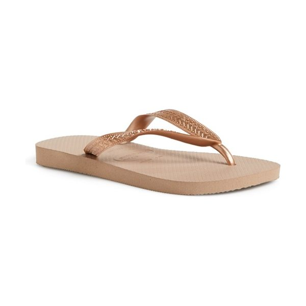HAVAIANAS metallic top thong sandal - Casual style in fresh fruity hues, with shimmering...