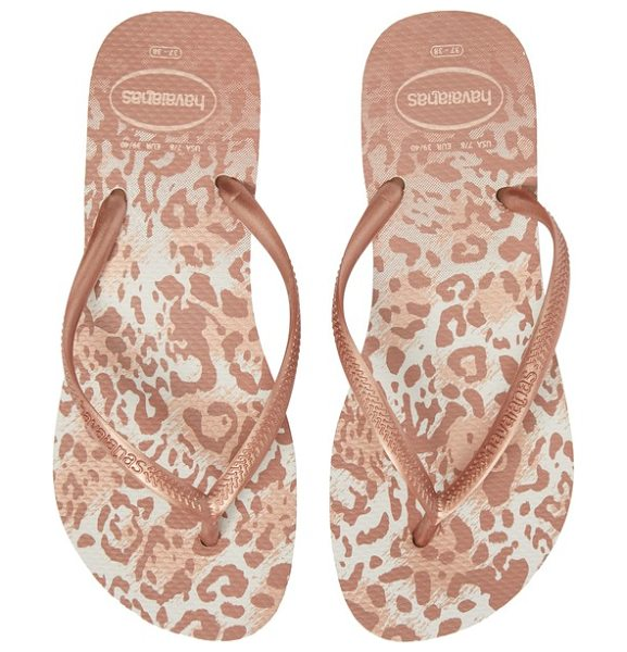 Havaianas 'slim animal print' flip flop in white/ golden blush - Fun animal print spices up the buttery-soft footbed on a...