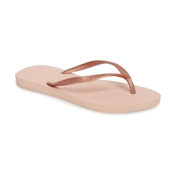 Havaianas 'slim' flip flop in ballet rose - A classic all-rubber flip-flop features an updated slim...