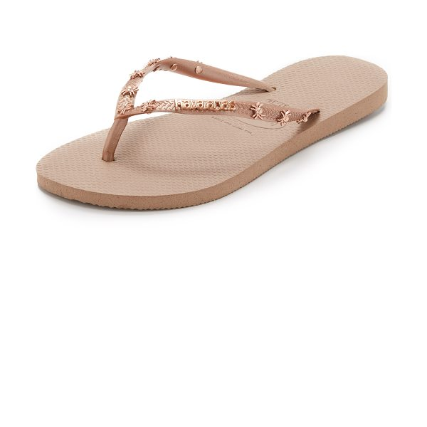 Havaianas Slim hardware flip flops in rose gold - A metallic logo and spiders give a playful edge to the...