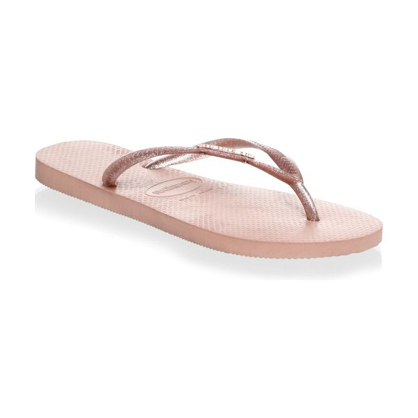 HAVAIANAS slim rubber flip-flops in balletrose - Slim rubber flip flop finished with metallic sheen....