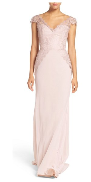 HAYLEY PAIGE OCCASIONS cap sleeve lace & chiffon trumpet gown in rose/ blush/ cashmere - Scalloped-edge lace embraces the fitted cap-sleeve...