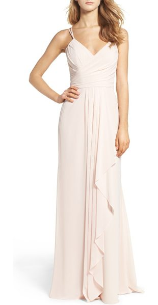 Hayley Paige Occasions chiffon gown in blush/cashmere - Gorgeous gathers enhance curves and whittle the...