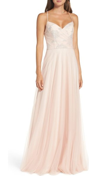 Hayley Paige Occasions embellished bodice net halter gown in almond - A glittering floral motif illuminates the gathered,...