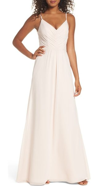 HAYLEY PAIGE OCCASIONS gathered v-neck chiffon gown - Soft gathers at the bodice and waist shape a romantic...