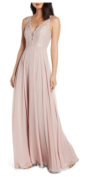 Hayley Paige Occasions lace bodice chiffon evening dress in pink