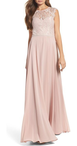 Hayley Paige Occasions lace & chiffon gown in pink