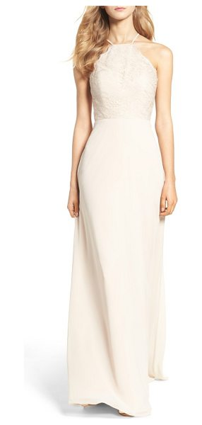 Hayley Paige Occasions lace halter gown in champagne - Romantic lace overlays the fitted bodice of a...