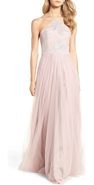 Hayley Paige Occasions metallic embellished gown in dusty rose - Glistening floral detail covers the modified-halter...
