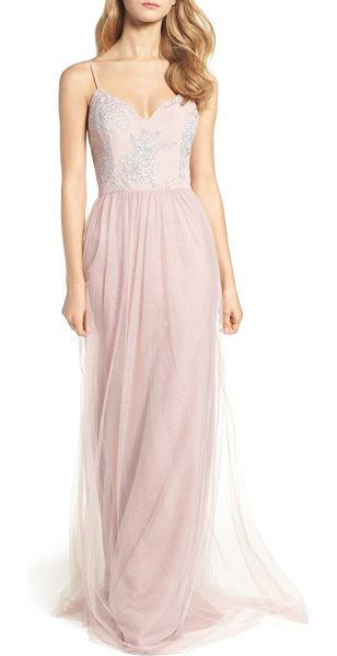 Hayley Paige Occasions metallic embellished gown in dusty rose - Glistening floral details cover the curved, V-neckline...