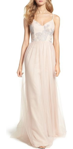 Hayley Paige Occasions metallic embellished gown in almond - Glistening floral details cover the curved, V-neckline...
