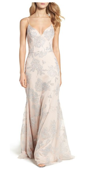 HAYLEY PAIGE OCCASIONS metallic tulle gown - Glistening details blossom all over this fitted yet...