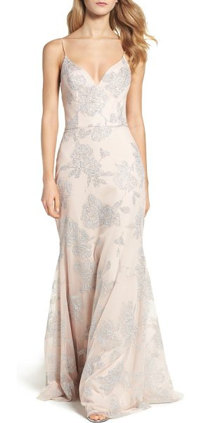 Hayley Paige Occasions metallic tulle gown in almond - Glistening details blossom all over this fitted yet...