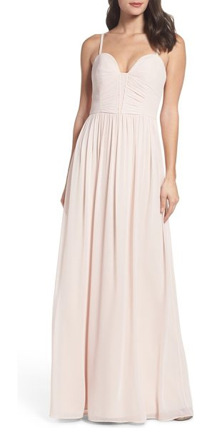 Hayley Paige Occasions ruffle detail a-line chiffon gown in dusty rose - Dainty, delicate ruffles detail the ruched sweetheart...