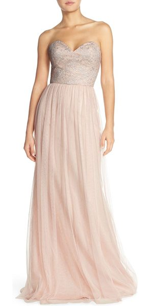Hayley Paige Occasions strapless metallic lace & net gown in silver/ almond - Silvery shimmer wraps moonlight gleam around a...