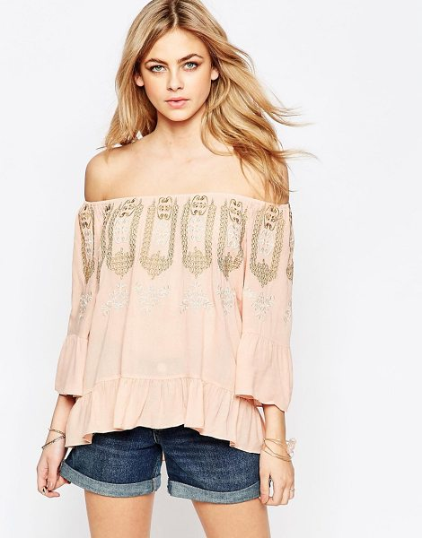 Hazel Embroidered neck blouse in pink - Top by Hazel, Woven crepe fabric, Soft-touch finish,...