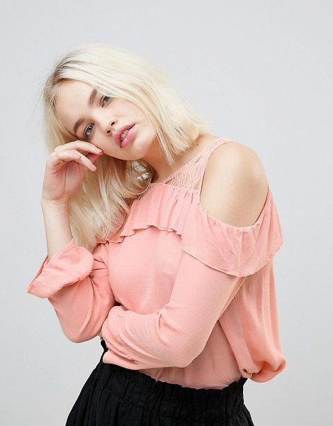 Hazel frill and lace cold shoulder blouse in blush - Blouse by Hazel, Round neck, Sheer lace insert,...