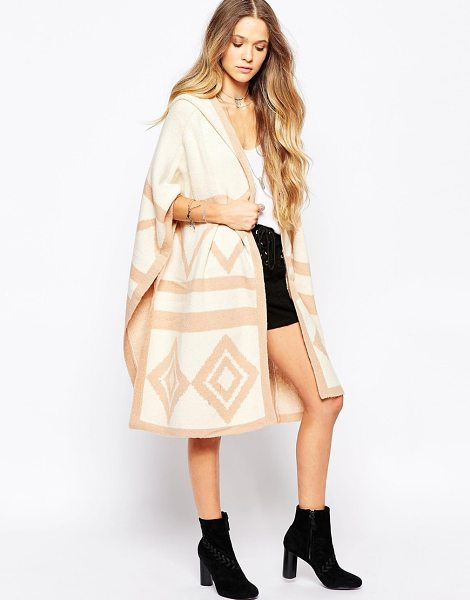 Hazel Geo long line cardigan with hood in natural - Cardigan by Hazel Mid-weight thick knit Super soft-touch...