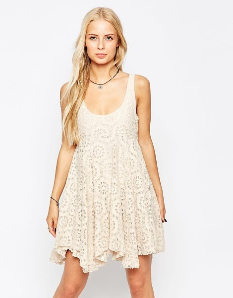 Hazel Lace crochet dress in natural - Lace dress by Hazel Mid-weight crochet lace Soft-touch,...