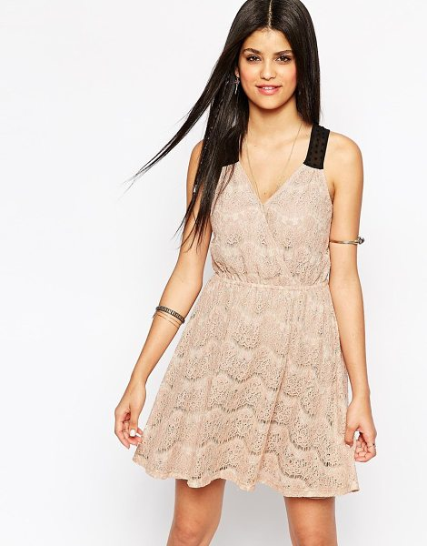 Hazel Lace cross front skater dress in taupe - Casual dress by Hazel Semi-sheer, floral lace Fully...