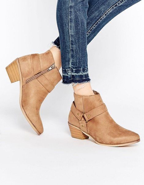 Head Over Heels By Dune Penley Taupe Western Ankle Boots in beige - Boots by Head Over Heels by Dune, Faux-suede upper,...