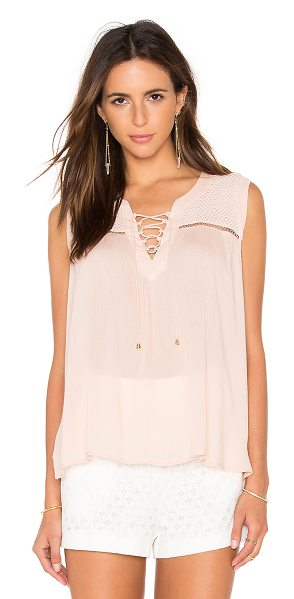 Heartloom Abri Top in blush - Self: 100% rayonTrim: 100% cotton. Front lace-up tie...