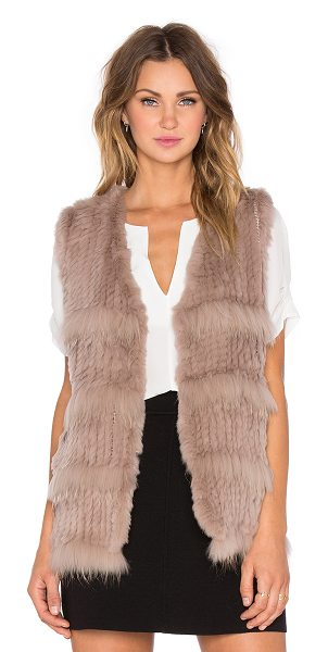 HEARTLOOM Denise rabbit and raccoon fur vest in taupe - 100% Whole dyed and sheared rabbit and raccoon fur. Fur...